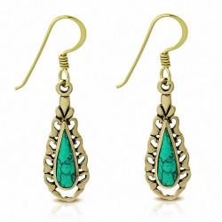 Boucles d'oreilles crochet en forme de larme en bronze avec turquoise (paire)