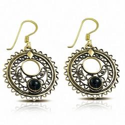 Boucles d'oreilles à crochet fantaisie en forme de disque circulaire en bronze avec onyx noir (paire)