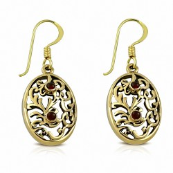 Boucles d'oreilles à crochets ovales en forme de goutte de vigne en bronze à la mode en bronze avec agate rouge (paire)