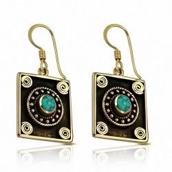 Boucles d'oreilles à crochet mode en forme de cercle en spirale bronze avec pierre turquoise (paire)