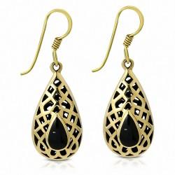 Boucles d'oreilles crochet en forme de larme en bronze avec onyx noir (paire)
