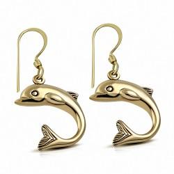 Boucles d'oreilles crochet à la mode et sautoir à la mode pour dauphin en bronze (Paire)