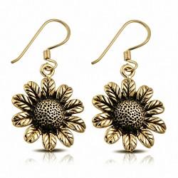 Boucles d'oreilles à la mode en forme de fleurs du soleil et de bronze (paire)