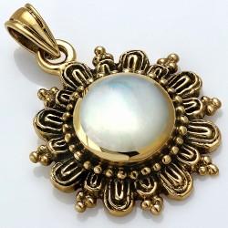 Pendentif fleur de cercle à la mode en bronze avec perle blanche