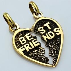 Pendentif coeur brisé avec les meilleurs amis de la mode en bronze