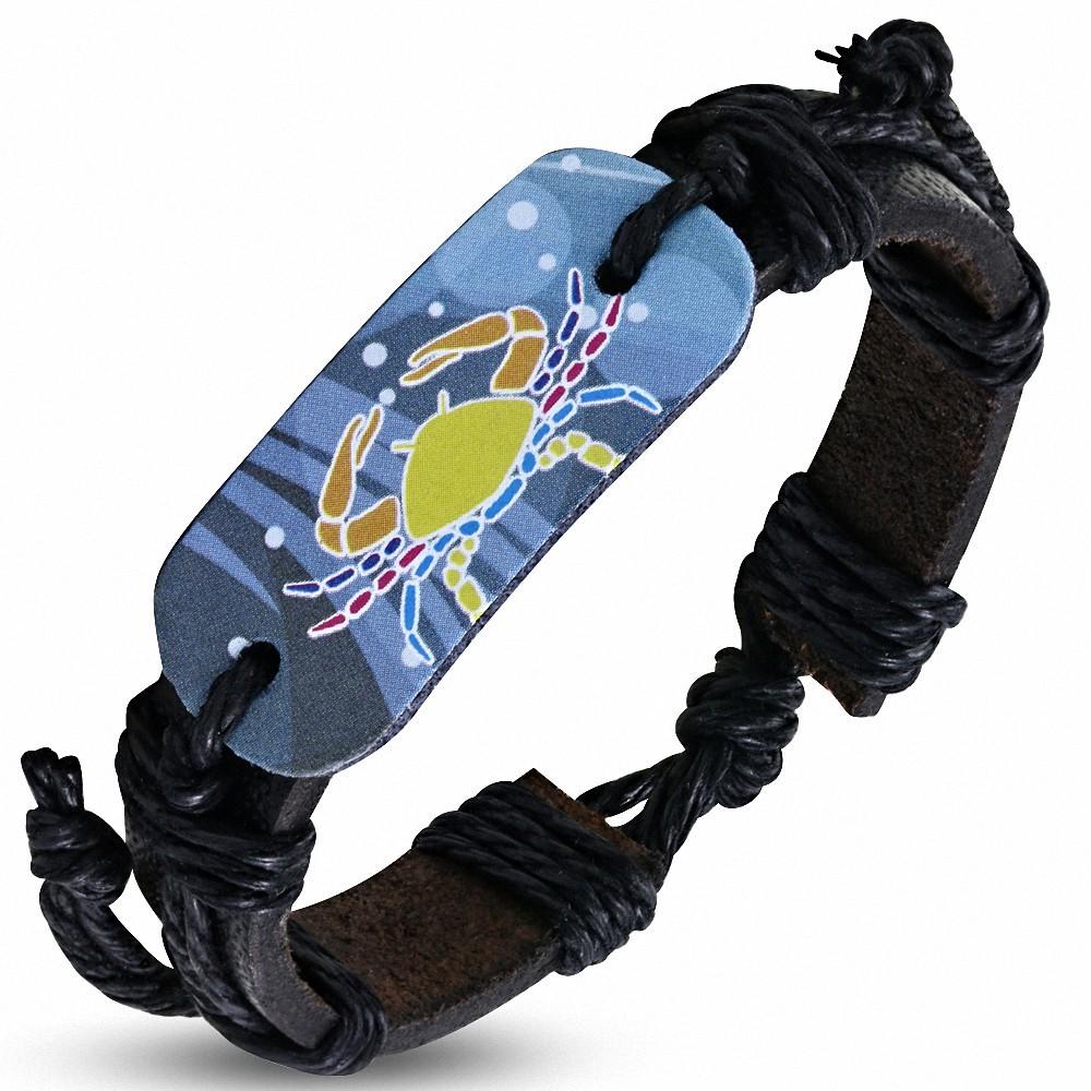 Bracelet en cuir noir réglable de signe de zodiaque de cancer de crabe coloré de mode de montre