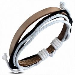 Bracelet réglable en cuir marron avec cordon de mode multicolore - FWB156