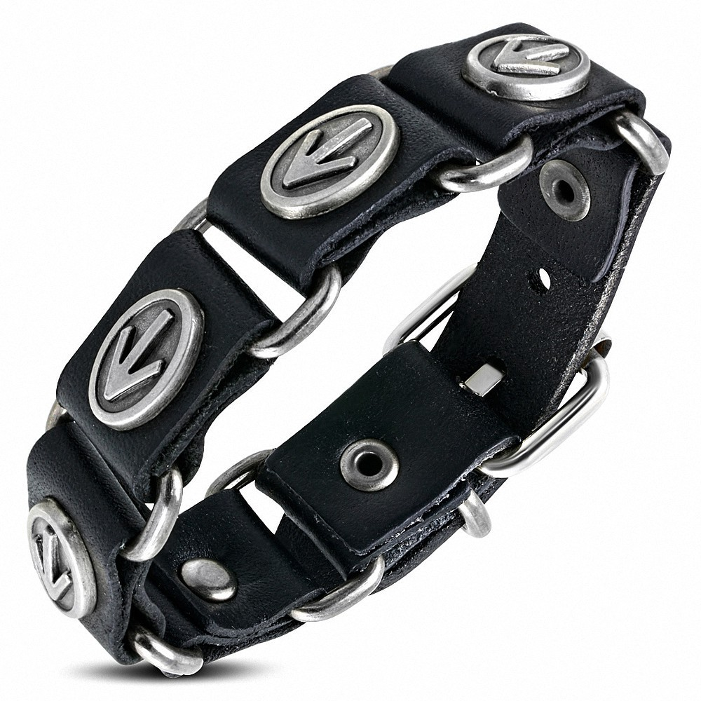 Studded Genuine Leather Motorcycle Buckle Bracelet Motorcycle Bracelet Biker Bracelet