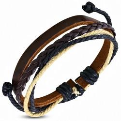 Bracelet en cuir marron ajustable avec cordon multicolore à la mode