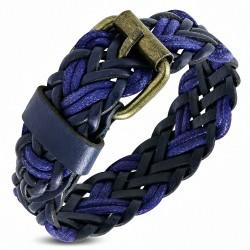 Bracelet en cuir noir tressé violet / violet avec boucle de ceinture