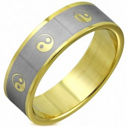 8mm |Bague plate 2 tons YinYang  symbole Tao en acier inoxydable plaqué de couleur d'or