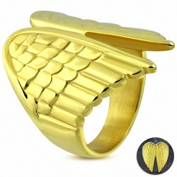 Bague fantaisie aile d'ange gardien en acier inoxydable plaqué or