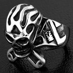 Bague de motard croisé Ghost Skull Tool en acier inoxydable 2 tons Clé croisée