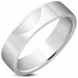 6mm |Bague de mariage en acier inoxydable demi-lune croissant de cercle demi-lune