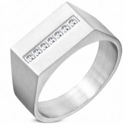 10mm  Bague géométrique à fini en acier inoxydable avec cz transparent