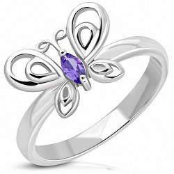 Bague fantaisie papillon en acier inoxydable avec violet clair CZ