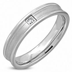 4mm |Bague en alliage plat de mariage de forme confortable, fini mat, acier inoxydable, clair, CZ