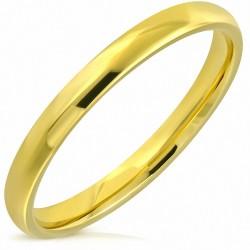 3mm |Bague de mariage demi-ronde en acier inoxydable plaqué or avec confort
