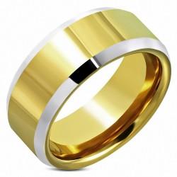 8.5mm |Bague demi-ronde demi-ronde, coupe ajustée, coupe confort, carbure de tungstène 2 tons plaqué or