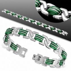 L-23cm W-14mm  Bracelet à maillons en acier inoxydable avec maillons celtiques torsadés en caoutchouc vert  homme