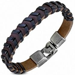 Bracelet à bascule à armure en cuir PU marron et noir