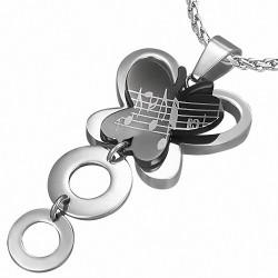 Pendentif papillon noir notes de musique et cercles argentés en acier inoxydable