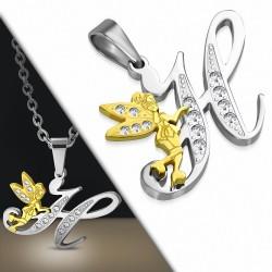 Pendentif à pendentif à breloques avec alphabet H en acier inoxydable 2 tons - Fée fée