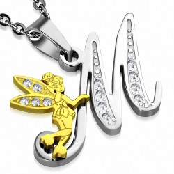 Pendentif à pendentif en forme de coeur avec alphabet en forme de minuscule fée en acier inoxydable 2 couleurs