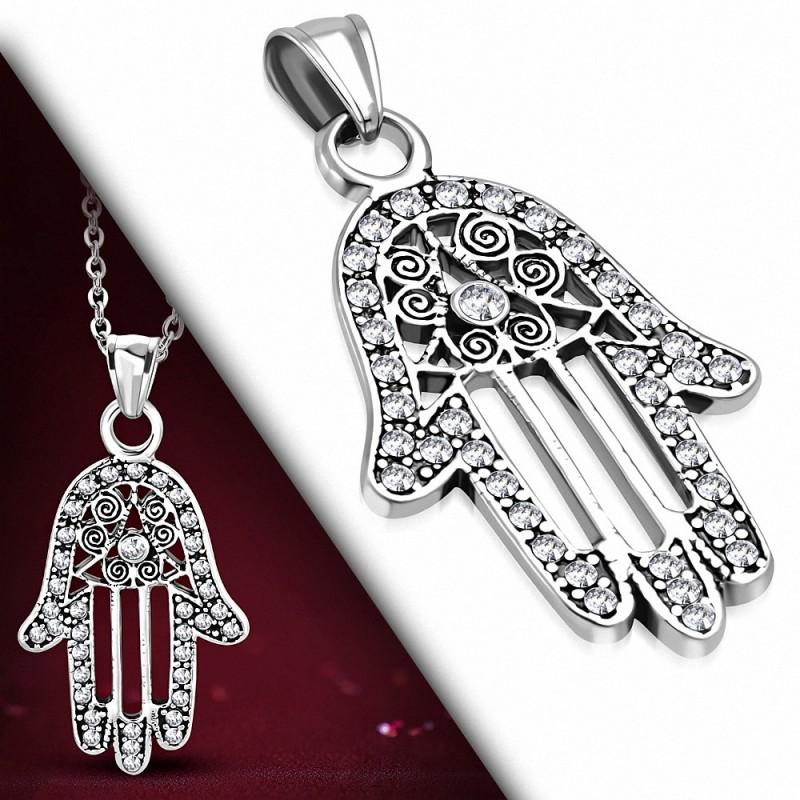 Pendentif en forme de main en spirale en filigrane en acier inoxydable avec Fatima / Hamsa gemme transparent