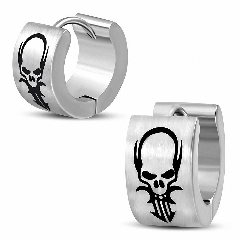 Boucles d'oreilles Hugone Dracula Skull Hoop en acier inoxydable 2 tons (paire)