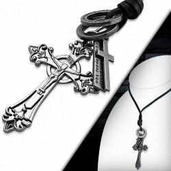 Alliage alliances crucifix fleur de lis bague de collier en cuir noir collier en cuir