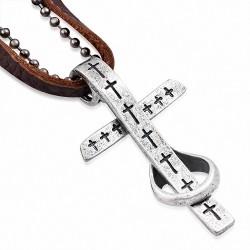 Alliage alliage 2 tons bague charm croix boule militaire lien chaîne brun collier en cuir véritable