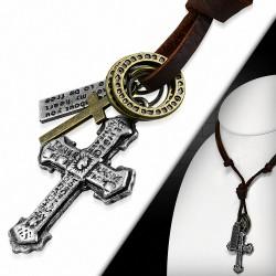 Collier double en cuir marron et charm en alliage Anneaux Plaque gravée Croix latine Croix gravée