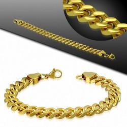 10mm  Bracelet à maillons cubains en acier inoxydable fermoir à mousqueton en acier inoxydable doré