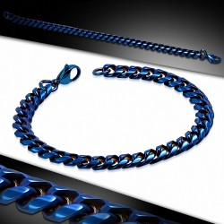 L-22cm W-8mm  Bracelet à mailles cubaines en acier inoxydable bleu avec fermoir à mousqueton et fermoir à fermoir