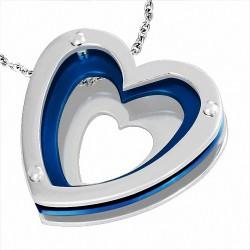 Pendentif en or à bille invisible avec coeurs d'amour concentriques en acier inoxydable