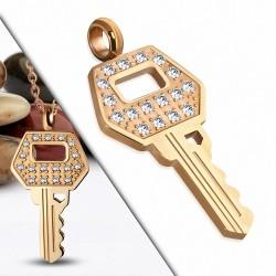 Pendentif petite clé en acier doré couleur rose doré gemme