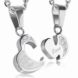 Pendentif 2 pièces en forme de coeur avec coeur d'amour en acier inoxydable avec - strass