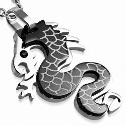 Pendentif zodiac chinois avec dragon en spirale 2 tons en acier inoxydable gemme noir 1
