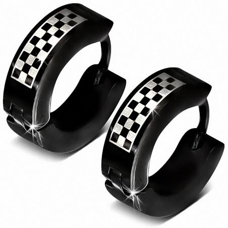 Boucles d'oreille Huggie Hugo en acier inoxydable noir à grille / damier (paire)