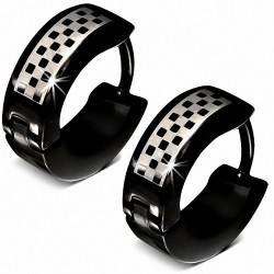 Boucles d'oreille Huggie en forme de grille / checker en acier inoxydable noir (paire)