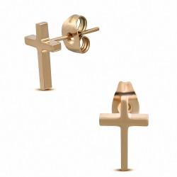 Boucles d'oreilles en forme de croix latine en acier inoxydable doré rose / or rose (paire)