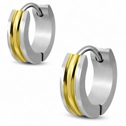 Boucles d'oreilles Huggie à anneaux rainurés en acier inoxydable 2 tons