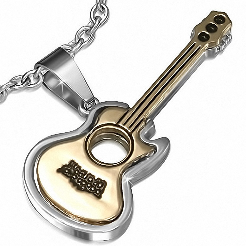Pendentif en alliage instrument de musique guitare électrique 1 laitonnée