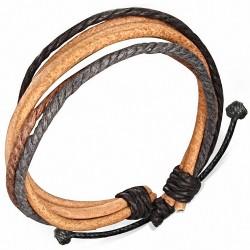 Bracelet ajustable en cuir avec corde chocolat brun et grise