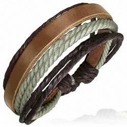 Bracelet ajustable en cuir brun avec corde chocolat et grise