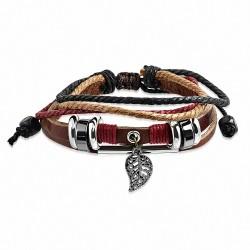 Bracelet ajustable en cuir marron avec breloque feuille d'automne et breloque