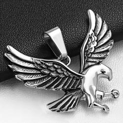 Pendentif aile d'oiseau aigle chauve repoussé 2 tons en acier inoxydable