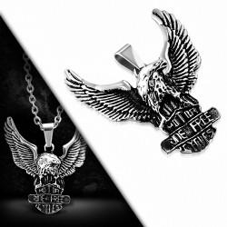 Pendentif motard aile d'oiseau aigle chauve repoussé 2 tons en acier inoxydable