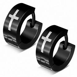 Boucles d'oreille Huggie Hoop en acier inoxydable noir (paire)